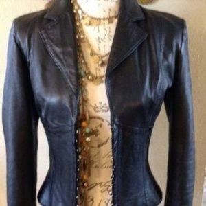 Vintage Italian Kor@Kor Black Leather Jacket  4/6